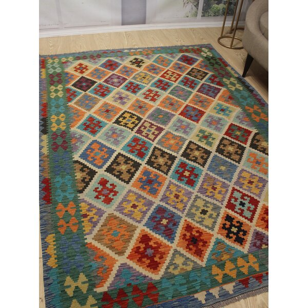 Foundry Select Hults Southwestern Handmade Flatweave Wool Orange Green Area Rug Wayfair