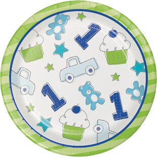 Doodle 1st Birthday Boy Paper Appetizer Plate (Set of 24)