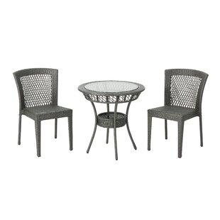 Ducote Outdoor 3 Piece Wicker Bistro Set