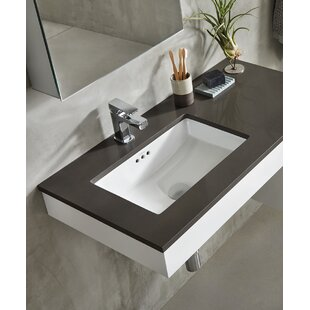 Inexpensive Essence Ceramic Rectangular Undermount Bathroom Sink with Overflow By Ronbow
