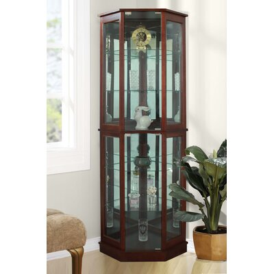 Biali Lighted Corner Curio Cabinet Andover Mills Color: Walnut
