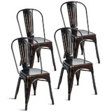 Bejou Metal Slat Back Stacking Side Chair in Distressed Black (Set of 4) by 17 Stories