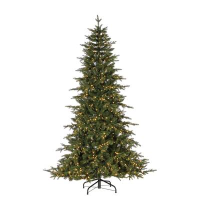 Led Natural Cut Seville Green Pine Artificial Christmas Tree With Clear White Lights Stand