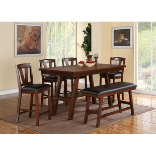 Kaneshiro 6 Piece Counter Height Solid Wood Dining Set Alcott Hill