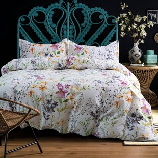 Alysa Watercolor Windflower Painted Duvet Cover Set