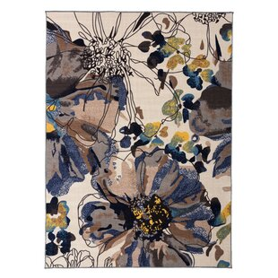 Archie Bright Flowers Non-Slip Cream/Brown Area Rug by Ebern Designs