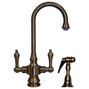 Whitehaus Collection Vintage III Single Hole or Dual Handle Entertainment or Prep Faucet with Lever Handles and Side Spray