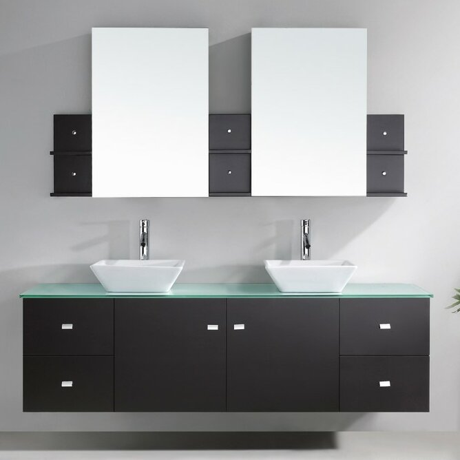 "Bathroom Vanity Glass Top virtu usa clarissa 72"" double bathroom vanity set with tempered"