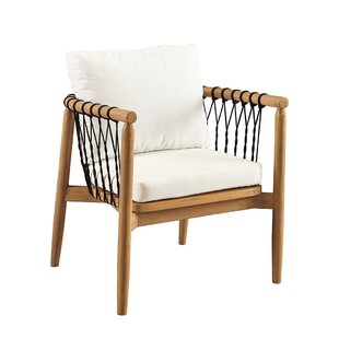 Bungalow Rose Bakerstown Teak Patio Chair with Cushions
