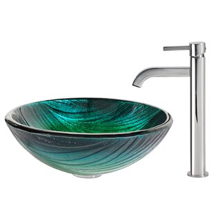 Kraus Nei Glass Circular Vessel Bathroom Sink with Faucet