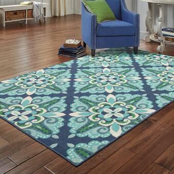 Ebern Designs Ronda Geometric Green Beige Indoor Outdoor Area Rug Reviews Wayfair