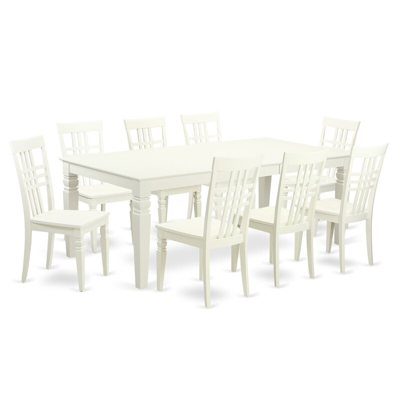 Beesley 9 Piece Linen White Wood Dining Set