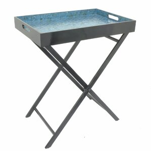 Ellettsville Wooden Metal Mop Serving Tray Table by Ebern Designs