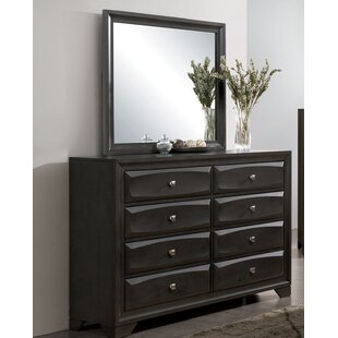 Alder 8 Drawer Double Dresser with Mirror