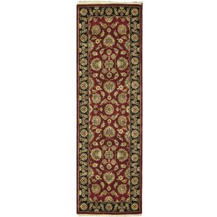 Compare One-of-a-Kind Crown Handwoven Runner 2'8 x 8'1 Wool Red/Black Area Rug By Bokara Rug Co., Inc.