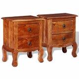 2 - Drawer Solid Wood Nightstand in Brown (Set of 2) by VidaXL