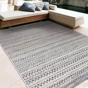 Macaire Dark Blue/Ivory Indoor/Outdoor Area Rug