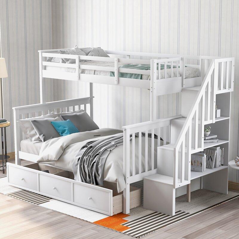 Harriet Bee Rhode Twin Over Full Bunk Bed With Drawers Wayfair