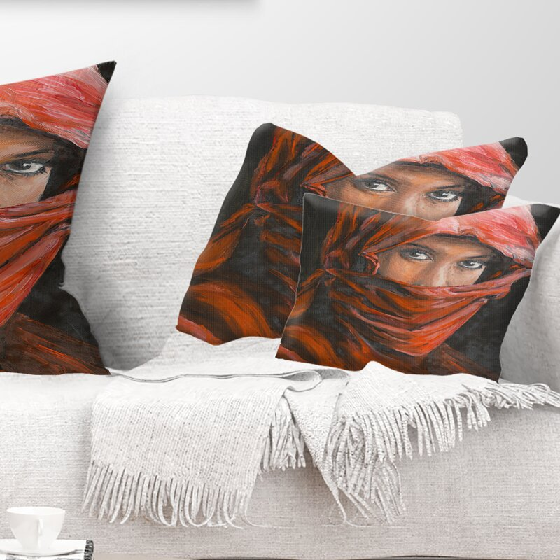 East Urban Home Portrait Arabian Woman Lumbar Pillow Wayfair