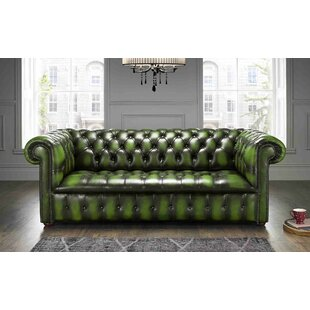 Colwell Buttoned Genuine Leather 3 Seater Chesterfield Sofa By Astoria Grand