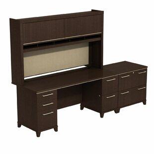 Bush Business Furniture Enterprise Double Pedestal 3 Piece Desk Office Suite