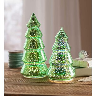 2 piece glass christmas tree set