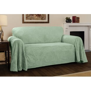 Plush Damask Throw Loveseat Slipcover