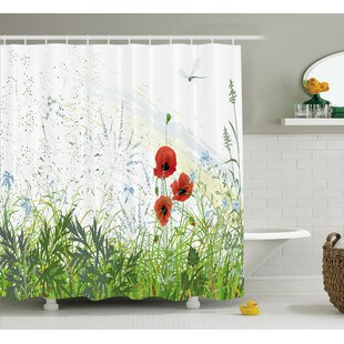 Compare Bonnie Country Illustration of Meadow Field With a Single Fleur-De-Lis on Grunge Background Shower Curtain ByEbern Designs