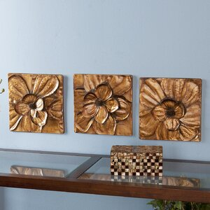 3 Piece Magnolia Brown Panel Wall Du00e9cor Set