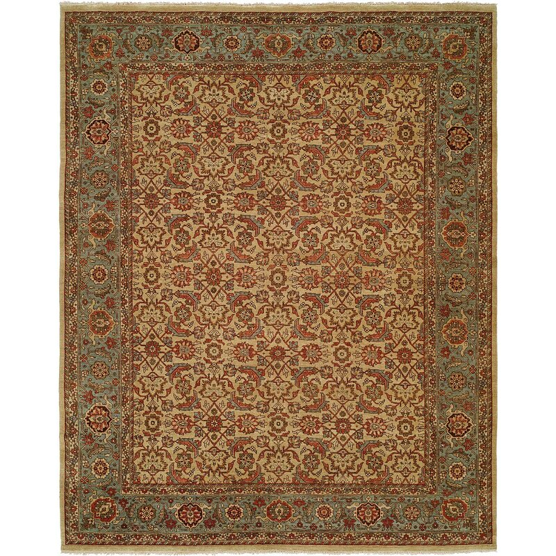 Astoria Grand Mccullom Oriental Hand Knotted Wool Ivory Blue Area Rug