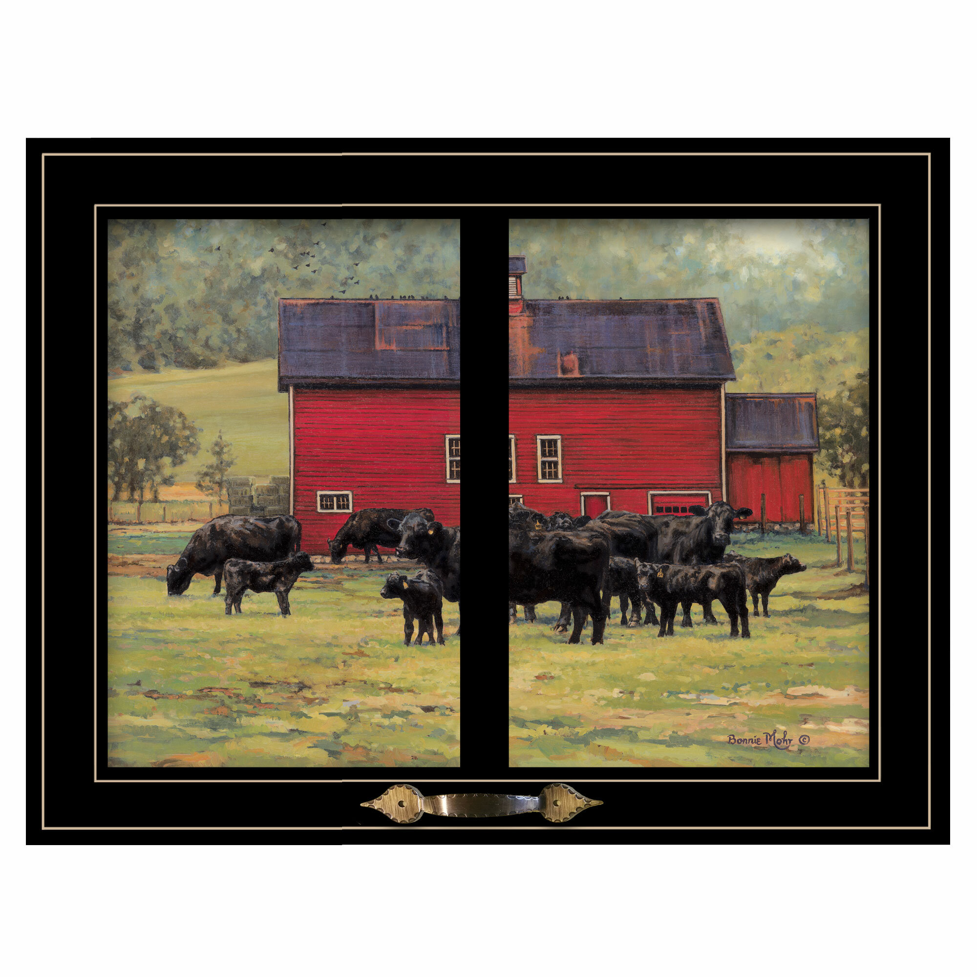 August Grove By The Red Barn Herd Of Angus Framed Photographic Print Wayfair