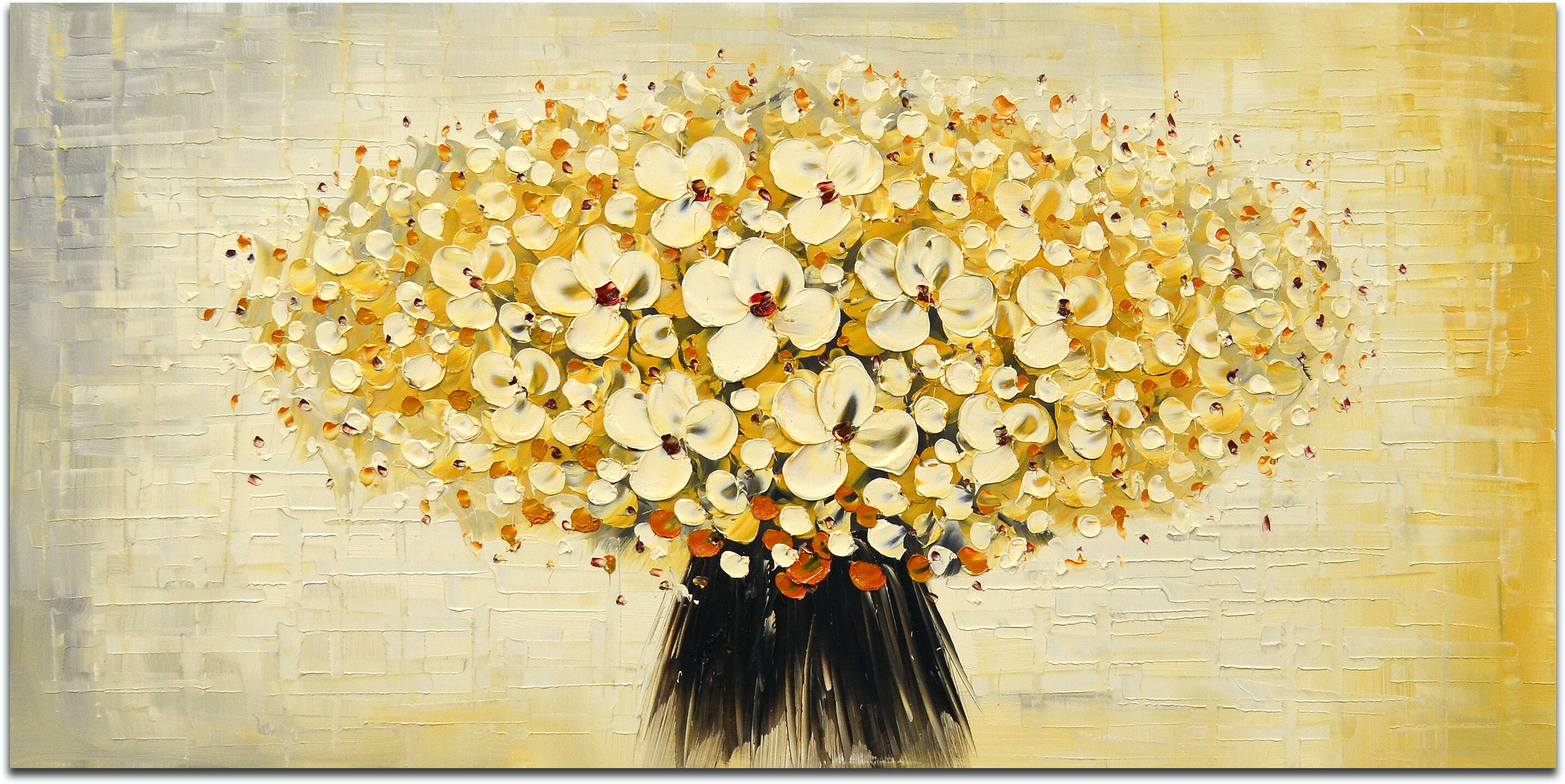 Omax Decor Bunched Cherry Blossoms Painting on Canvas & Reviews ...