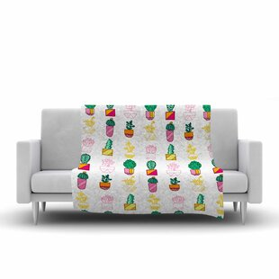 Jane Smith Succulent Cali Cacti Multicolor Illustration Fleece Blanket By East Urban Home