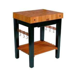 Rouge et Noir Prep Table with Butcher Block Top