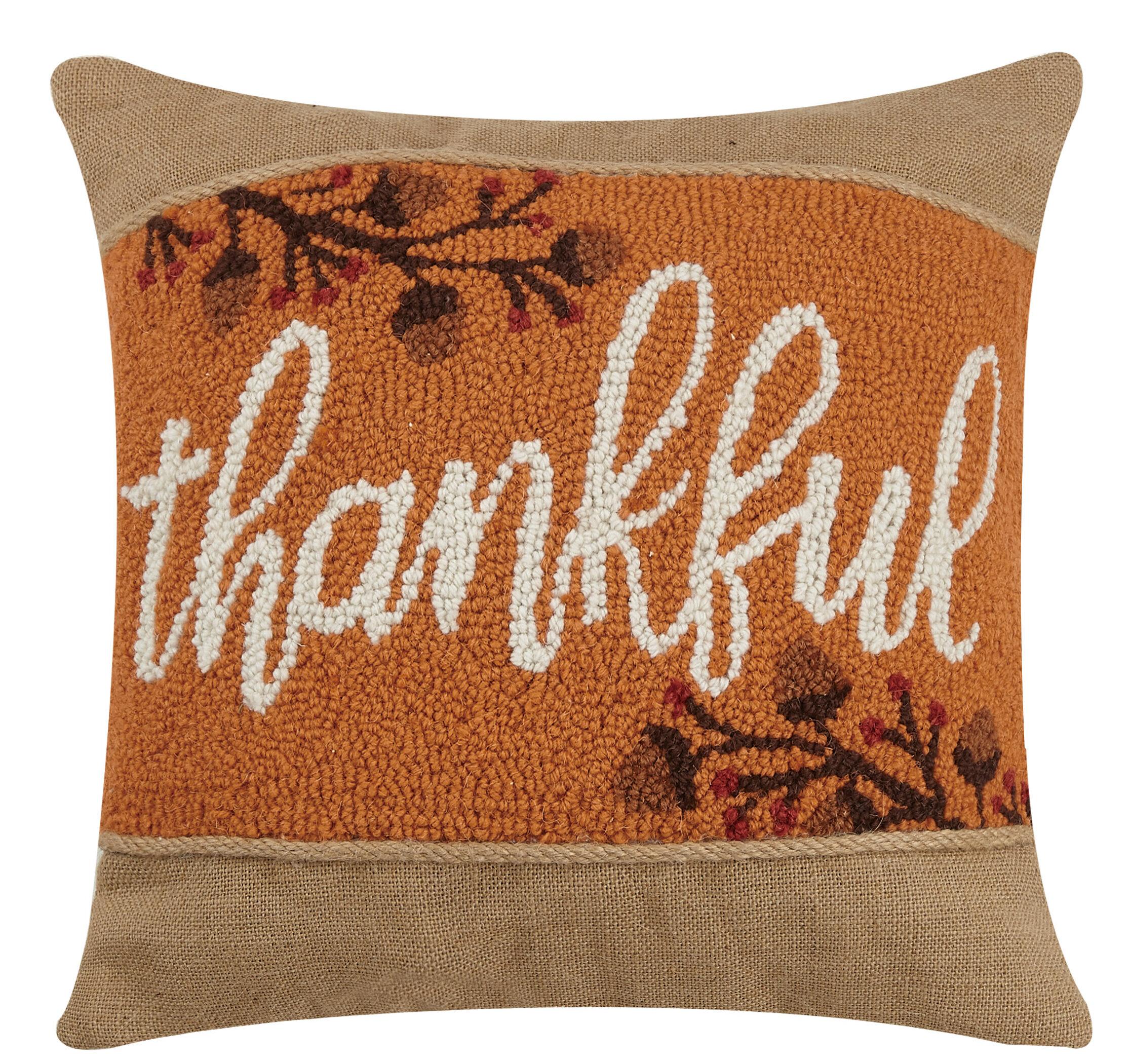 Millwood Pines Williar Thankful Hook Wool Throw Pillow Wayfair