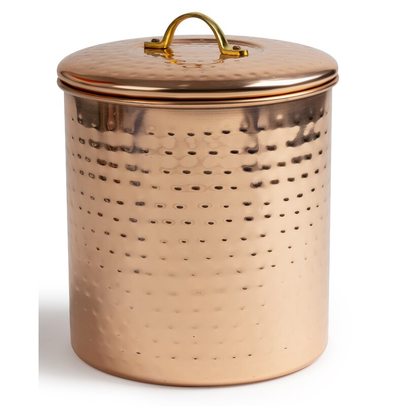 Pantry Countertop Storage Display Jars Decor Copper Hammered Steel Canister Set