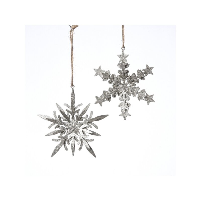 The Holiday Aisle 2 Piece Hanging Snowflakes Holiday Shaped Ornament Set Wayfair