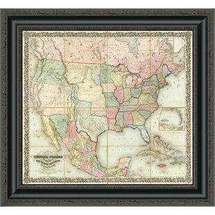 Framed Map Of United States Wayfair