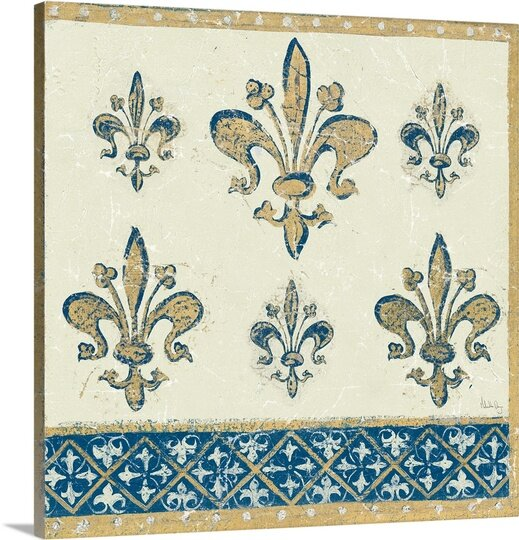 'Regal Fleur de Lis Indigo and Cream' by Meloushka Designs