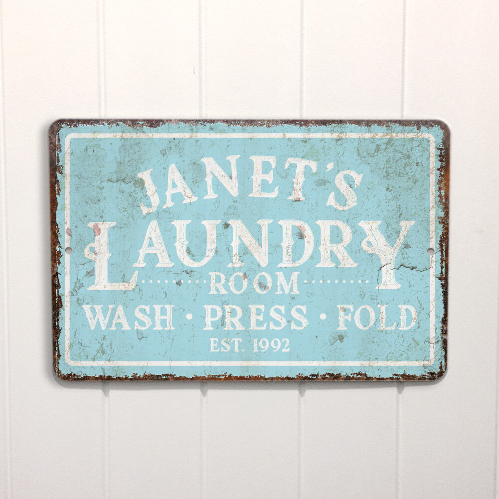 Personalized Mint Distressed Vintage-Look Laundry Metal Sign Wall Décor   Joss & Main