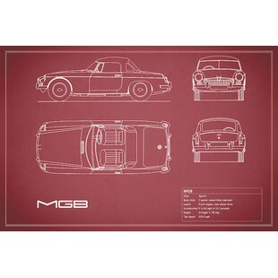 'MG MGB' Graphic Art Print on Canvas in Red ByEast Urban Home