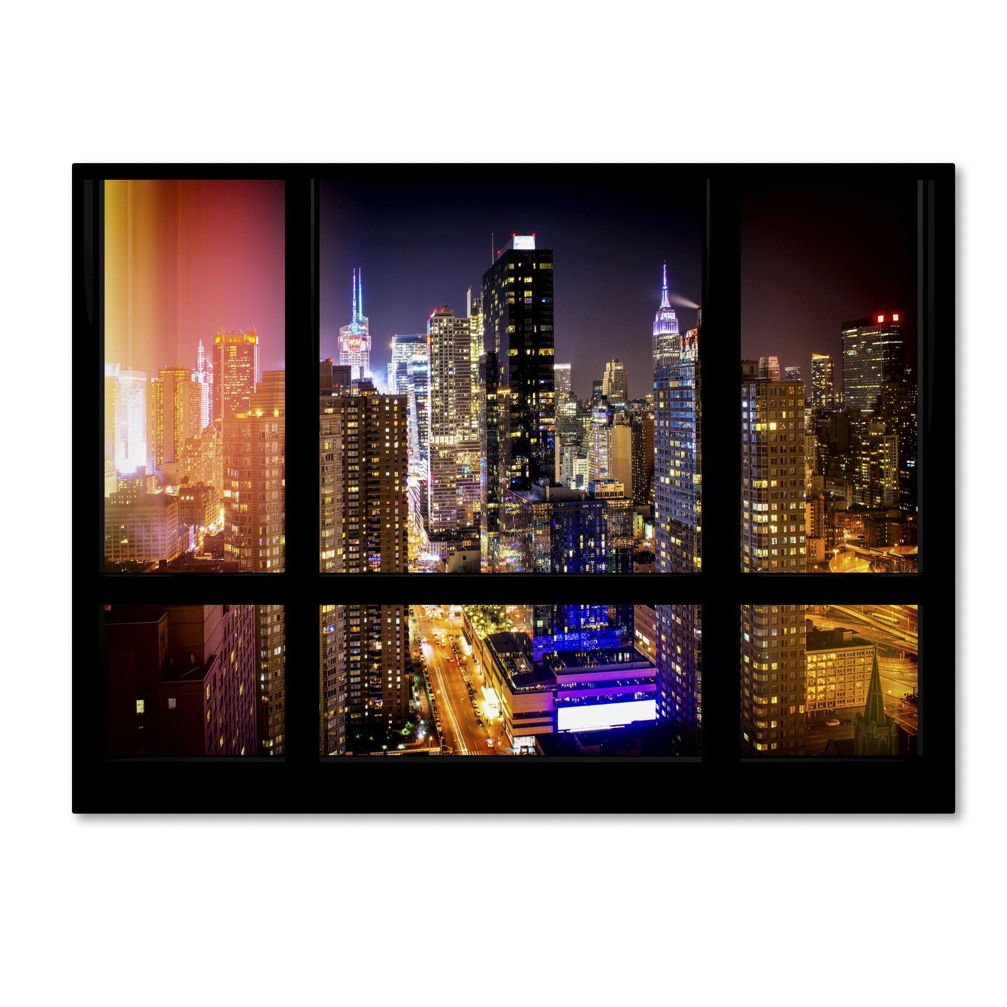 Trademark Art Window View Manhattan Night 2 Framed Photographic Print On Wrapped Canvas Wayfair