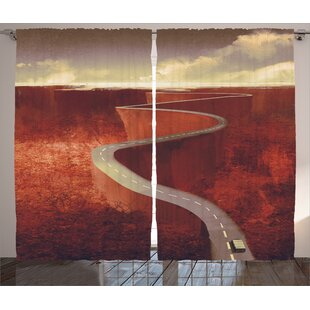 Scenic Road Decor Graphic Print Room Darkening Rod Pocket Curtain Panels (Set of 2) by East Urban Home