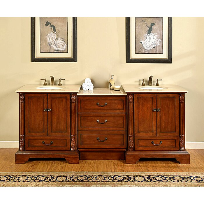 Silkroad Exclusive Kimberly Dark walnut Undermount Single Sink Bathroom  Vanity with Natural Marble Top (Common