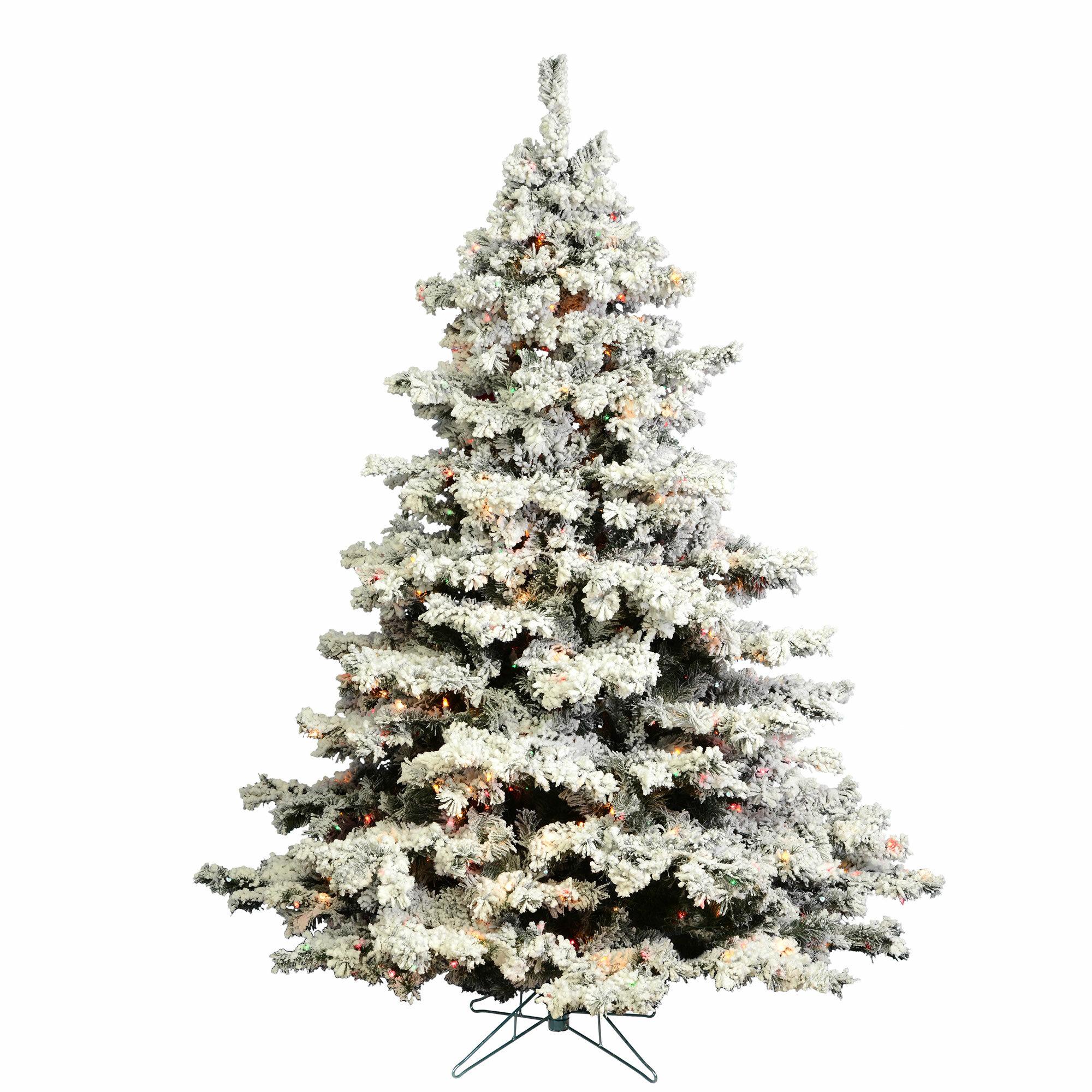 Loon Peak Flocked Alaskan Crystal White Green Pine Artificial Christmas Tree With 800 Multi Color Lights Reviews Wayfair