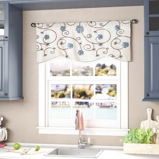 kitchen picture window tile steinke scrolling 42 window valances café kitchen curtains youll love wayfair