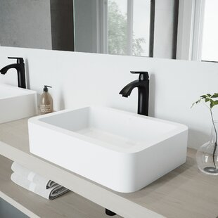 Petunia Stone Rectangular Vessel Bathroom Sink with Faucet VIGO