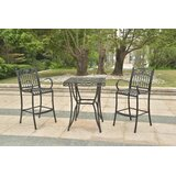 Hanes Height Patio Bistro 3 Piece Bar Set