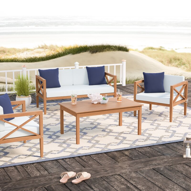 Delray 4 Piece Sofa Seating Group with Cushions