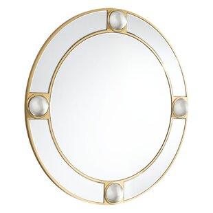 Everly Quinn Hua Round Lucite Accent Mirror